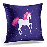 Emvency Throw Pillow Covers Case Blue Horse Pink Space Unicorn Green Animal Decorative Pillowcase Cushion Cover for Sofa Bedroom Car 20 x 20 Inches