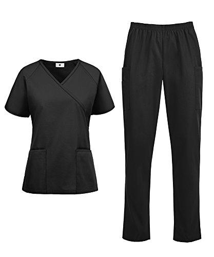 - Women's Medical Uniform Scrub Set - Includes Mock Wrap Top and Elastic Pant (XS-3X, 14 Colors) (Large, Black)