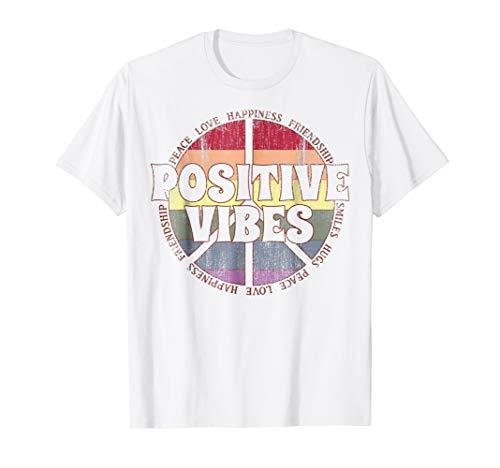 Positive Vibes Rainbow Peace Sign Hippie Vintage T-Shirt