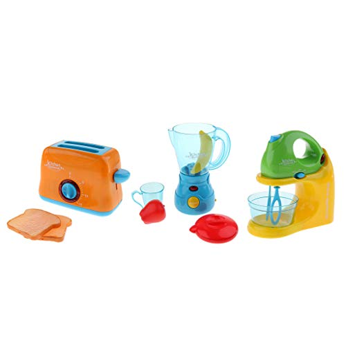 3pcs Blender Juicer Bread Maker Battery Powered Pretend Play Toys Home Appliances Furniture Kids Kitchen Role Playing Game