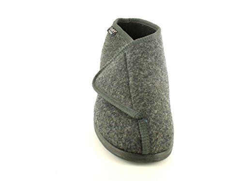 hombre gris / Negro texitle COMPLETO Cómodo Zapatillas con de contacto cierre - Gris Carbón - GB Tallas 6-12