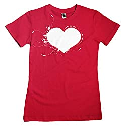 Flourish Heart Valentines Day Love Ladies Fit T-shirt - Red