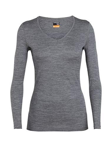 (Icebreaker Merino Women's 200 Oasis Long Sleeve V Base Layer Tops, Small, Gritstone Heather)