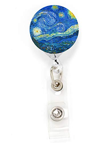 (Buttonsmith Van Gogh Starry Night Retractable Badge Reel with Alligator Clip and Extra-Long 36 inch Standard Duty Cord - Made in The USA, 1 Year Warranty)