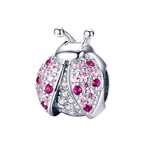 (GDDX Sterling Silver Ladybug Pendant fit Bracelet Charm Beads Fits for Pandora European Bracelets)