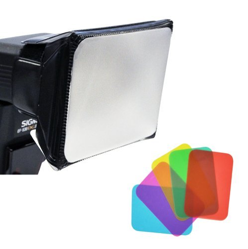 (Opteka SB-110 Universal Gel Softbox Diffuser for External Camera Flash Units -Blue/Green/Red/Yellow/Amber/Pink Gels )