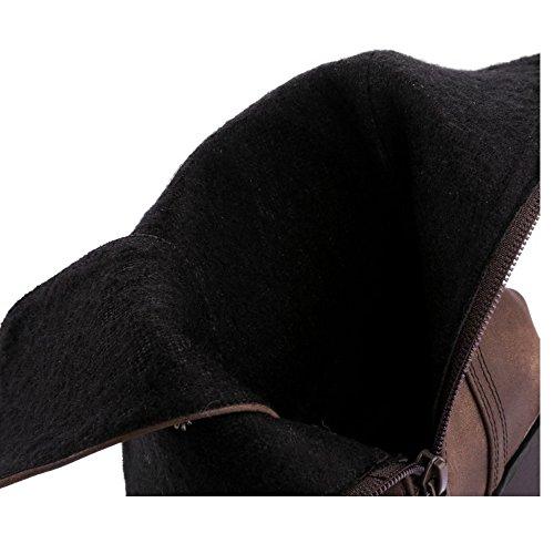 Zipper COOLCEPT Women Boots Brown Classic q6U6rYt