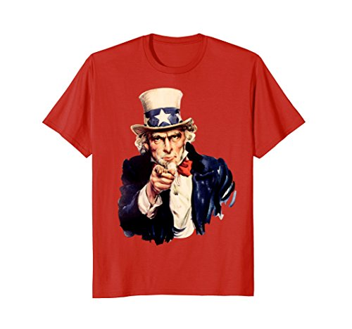 Mens I want you - Uncle Sam FUN T-Shirt Medium Red