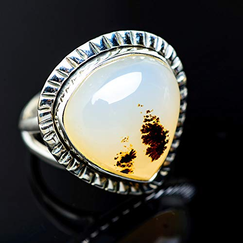 (Ana Silver Co Large Scenic Dendritic Agate Ring Size 8.25 (925 Sterling Silver) - Handmade Jewelry, Bohemian, Vintage RING947875 )