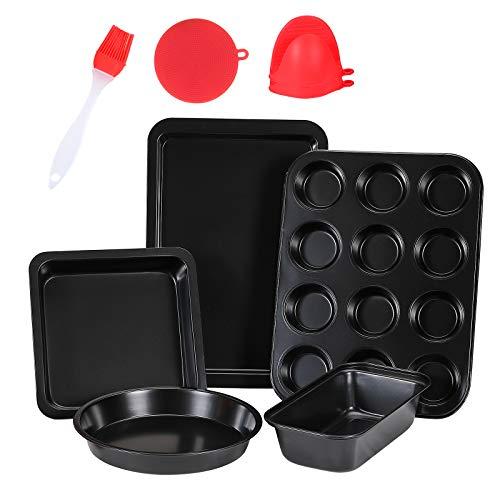 5 Pcs Nonstick Bakeware Set,Carbon Steel Baking Set Include Loaf Pan,Cookie Sheet, Loaf Pan, Square Pan, Round Cake Pan…
