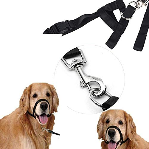 - outopen Dog Muzzle Strap Adjustable Pet Mouth Traction Set Nylon Head Collar S Black for Anti-Bite