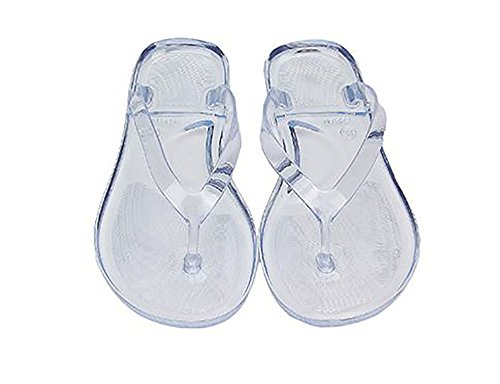 (TOKYO-T Flip Flops for Women Translucent Beach Sandals Pool Bath Slippers (US7, White))