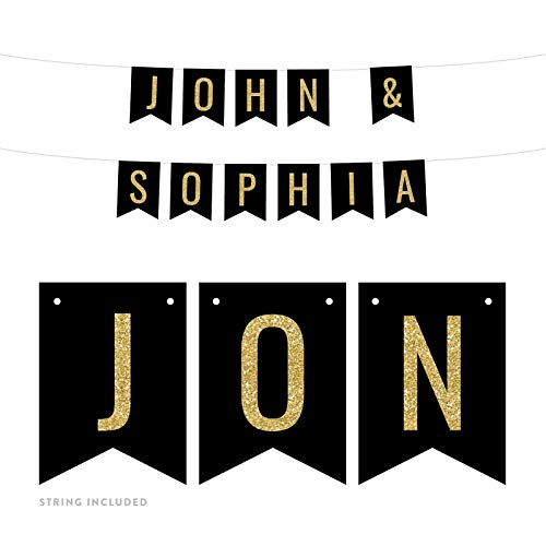 Andaz Press Personalized Faux Gold Glitter on Black Party Banner Decorations, John & Sophia, Bride and Groom Names, Approx 5-Feet, 1-Set, Wedding Bridal Shower Hanging Pennant Decor, Custom -