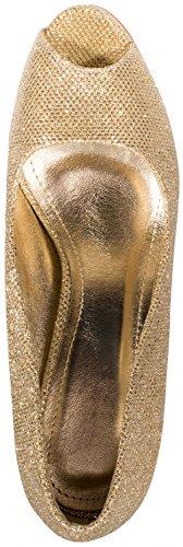 Elara Damen Pumps | Plateau High Heels Glitzer | Hochzeit Stiletto| chunkyrayan Gold Peep-Toe