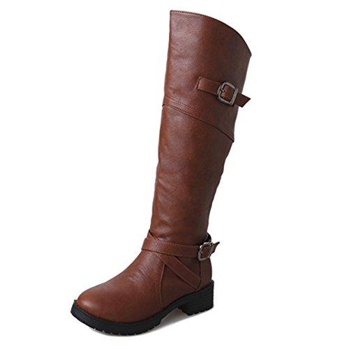 Top Scarpe Stivali Stivaletti Boots Martin Invernali Marrone piane Cavaliere BeautyTop Donna Beauty tacco Faux Autunno Fibbia Adq7xACw
