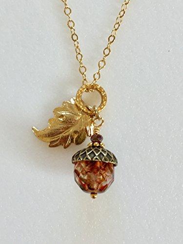 Acorn Pendant Necklace, Amber Crystal Czech Glass, Rustic Picasso Premium Bead, Vintage Bronze Acorn Cap, 18K Gold Leaf Oak Leaf, 14K Gold Fill.