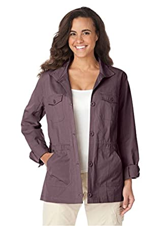 a41e27cbc7272 outlet Woman Within Women s Plus Size Sport Twill Utility Jacket ...