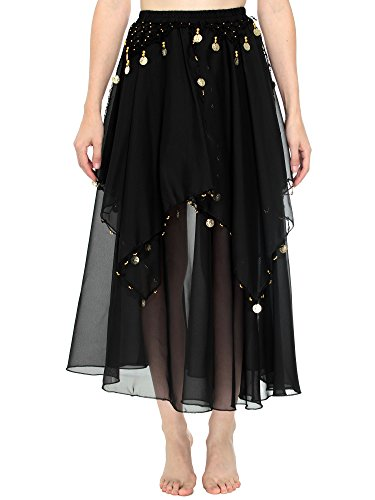 Simplicity Long Sheer Flowy Chiffon Belly Dance Skirt Costume Dancewear, Black