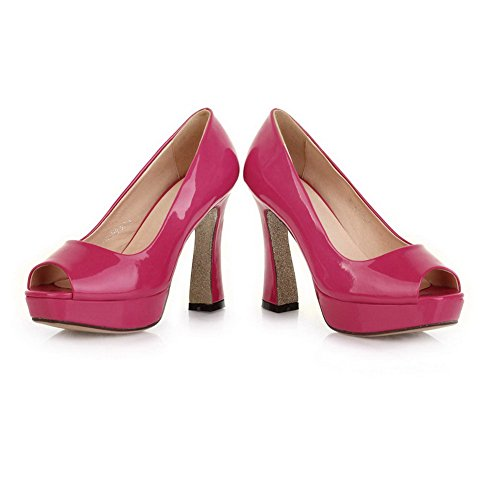 VogueZone009 Womens Open Peep Toe High Heel Platform Chunky Heels PU Patent Leather Solid Pumps, Peach, 3.5 UK