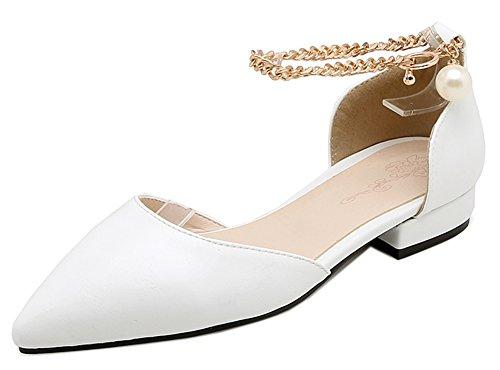Femme Talon Métallique Ballerines Easemax Bas Spécial Blanc Pointue Chaussure pwvTqTd