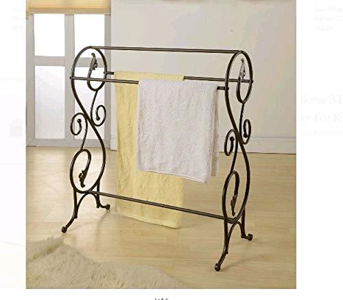 Bay Bath Metal Quilt Rack Stand, Blanket Bedspread Towels Rack,Vintage Storage Display Scroll Metal Iron, Storage Display Bedding Rustic for Comforters Home Bedroom Quest Room