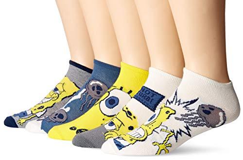 SpongeBob Squarepants Men's Spongebob 5 Pack No Show, White Assorted, 10-13