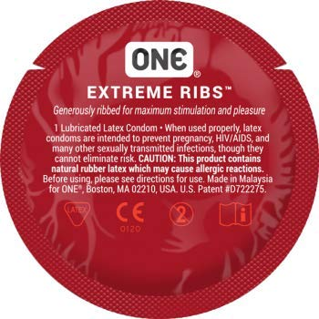 ONE Extreme Ribs with Silver Lunamax Pocket Case, Premium Ribbed-Studded Latex Condoms-24 Count