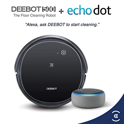 ECOVACS DEEBOT 500 Robotic Vacuum Cleaner with Max Power Suction bundle with Echo Dot (3rd Gen) Charcoal Gray