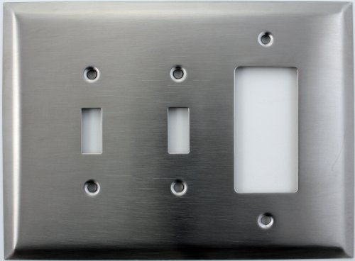 Over Sized Jumbo Satin Stainless Steel 3 Gang Switch Plate - 2 Toggle Light Switches 1 GFI/Rocker