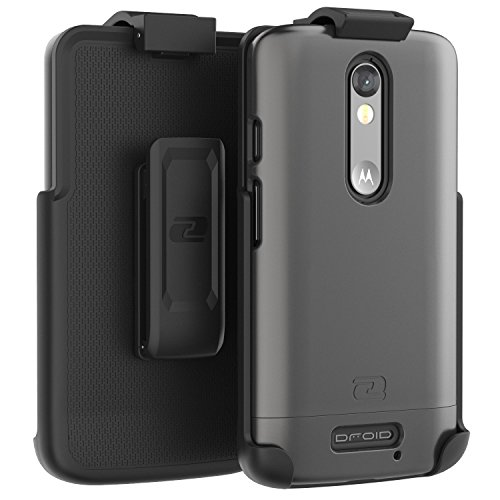 Motorola DROID Turbo 2 Belt Case, Encased Ultra Thin (2016 SlimShield Edition) Secure-fit Holster Clip & Tough Cover (Metallic Gray)