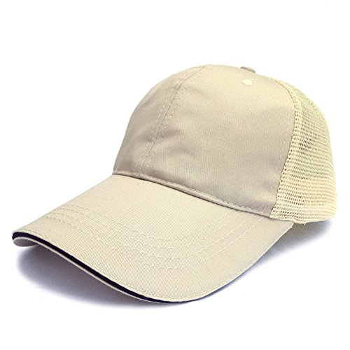 Unisex Men Women Plain Baseball Cap Cotton Netted Trucker Mesh Blank Curved Visor Adjustable Hat Polo Style (Beige with black - Mens Polo Visor