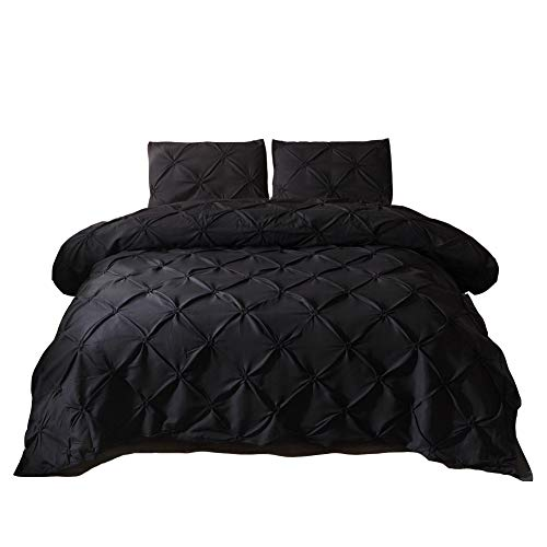 MOVE OVER 3 Pieces Black Bedding Pinch Pleated Duvet Cover Set Pintuck Pattern Design Black Ruffle Bedding Sets King (104