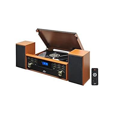 Pyle PPTCM80BTBR Vintage Retro Classic Style Bluetooth Turntable Speaker System with Vinyl/MP3 Recording