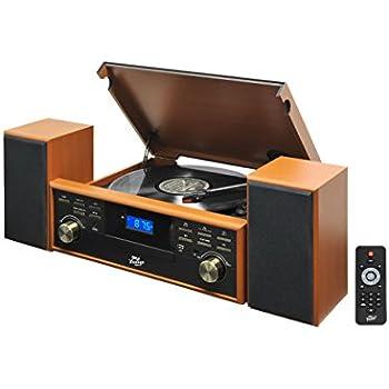 Pyle PPTCM80BTBR Vintage Retro Classic Style Bluetooth Turntable Speaker System with Vinyl/MP3 Recording