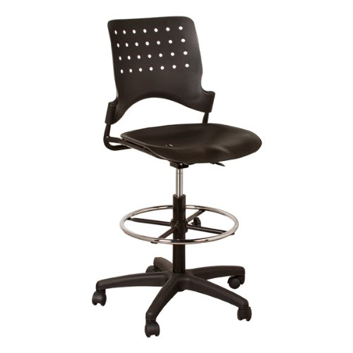 Learniture Ballard Adjustable Height Drafting Stool w Chrome Foot Ring NOR-TSU3004-SO- Black