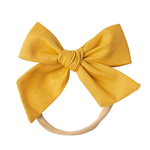 Handmade Cotton Hair Bows For Baby Girls and Toddlers (One Size Fits All) (Mustard, Nylon)]()