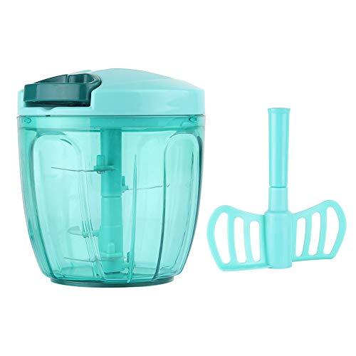 (Ourokhome Manual Chopper Food Processor - Vegetable Masher for Onion, Garlic, Parsley with 5 Blades (Teal,)