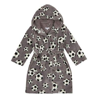 bluezoo Kids Boys' Football Print Dressing Gown Age 1-14 Years, Grey