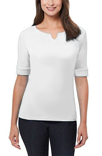 Shirt Sleeve Pique Knit (Ellen Tracy Women's Pima Cotton/Lycra V-Neck Cuff Sleeves T-Shirt (Large, White))