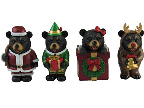 Set of 4 Christmas Miniature Bear Figurines Holiday Ornaments 4