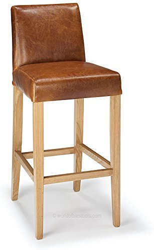 Firenze Bar Stool Tan Aniline Leather & Rustic Oak by (Tan Aniline Leather)