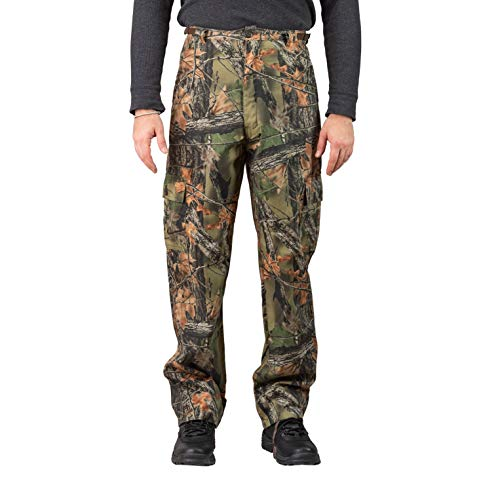 Trail Crest Men's Camo 6 Pocket Cargo Hunting /Hiking Pants Trousers W/ Can Cooler, - Six Pants Pocket Camouflage