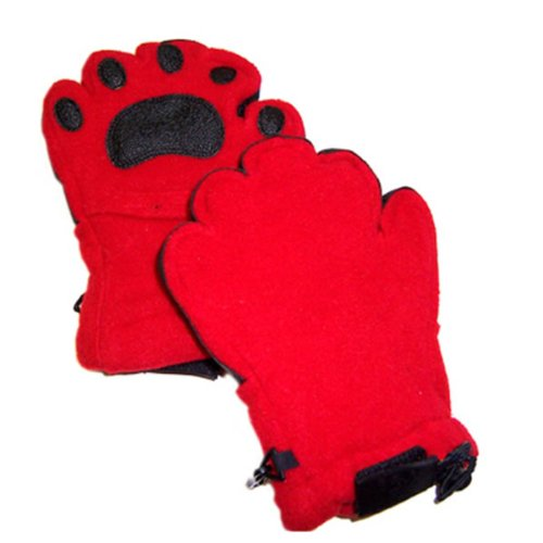 Bear Hands Mittens (Bear Hands Youth Fleece Mittens- Red/ Youth)