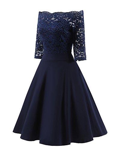 Pin Ocasión para Bardot Azul Formales Coctel de Escote Noche Elegante Encaje Deer Baile Up Fiesta Floral Boda con Dama Vestido Vestidos Mujer Bright Invitada Honor nYBvqwR6