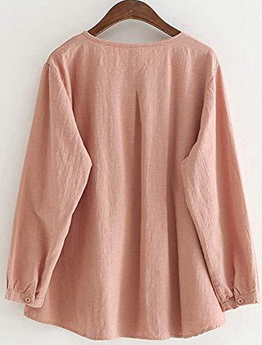 Da Pieghe Bottoni Medium Scozzese Fuxitoggo colore E Camicia Donna A Semplici Scollo Con Rosa Dimensione vXn1xEn6A