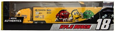Authentic Metal (Kyle Busch #18 MMs M&Ms Racing Hauler Tractor Trailer Semi Transporter Truck Rig 1/64 Scale NASCAR Authentics Metal Cab, Plastic Trailer)