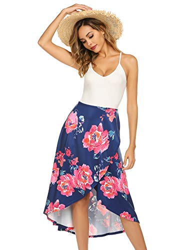 (Women's V Neck Strap Sleeveless Tank Top Casual Beach Dress Floral Maxi Split Dresses Blue S)