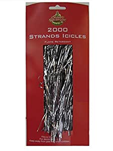 """Holiday Basics 18"""" Silver Tinsel Icicle Strands - 2000 Count"""