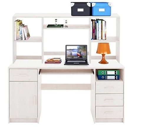Eckschreibtisch weiß mit aufsatz  Schreibtisch Computertisch 10479 mit Aufsatz Kiefer massiv weiß ...