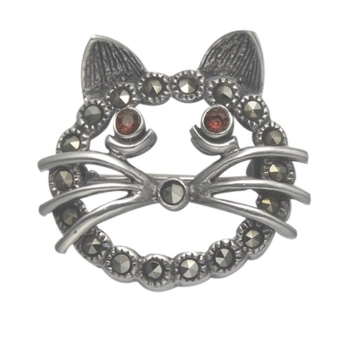Wild Things Sterling Silver & Marcasite Openwork Cat Face Pin w/Red Crystal Eyes
